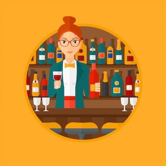 Barkeeper an der theke stehen.