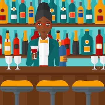 Barkeeper an der theke stehen