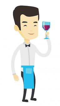 Barkeeper, der ein glas wein in der hand hält.