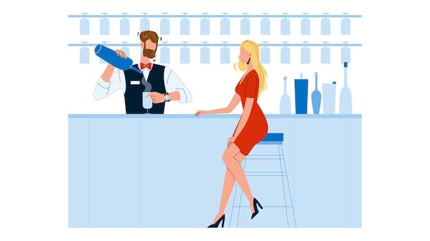 Barkeeper-experte, der cocktail für frau macht