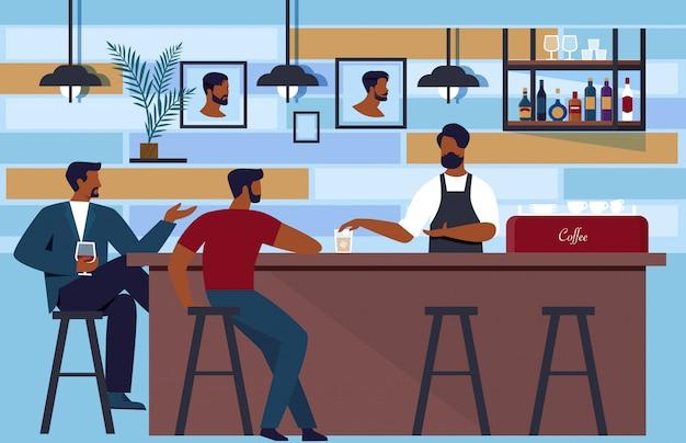 Barkeeper lockt kunden zum club in barbershop.