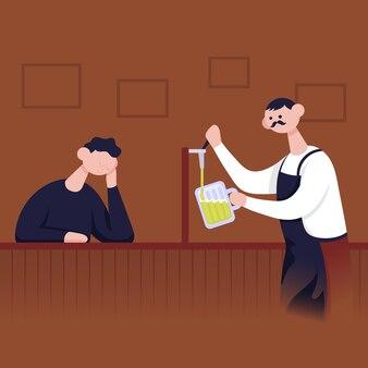 Barkeeper schenkt einem mann ein glas bier ein. flache cartoon-vektor-farbe-illustration.