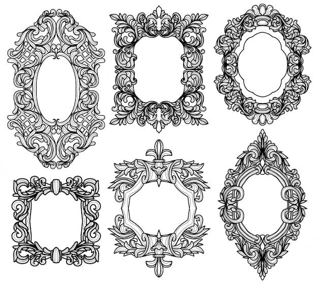 Barock frame set silhouetten vintage schwarz und weiß