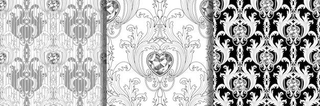 Barocke diamantschmuck nahtlose muster set luxus wiederholen malvorlagen
