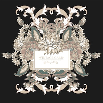 Barocke grußkarte der weinlese mit strudeln, blumen