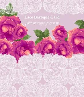 Barocke spitzenkarte mit rosenblüten. handgemachte zarte ornamentdekore