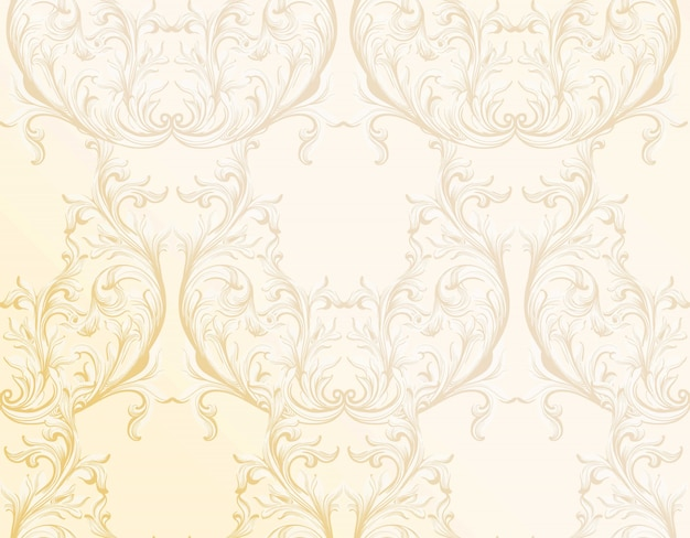 Barocker goldener musterhintergrund. ornament dekor für einladung, hochzeit, grußkarten. vektor-illustrationen
