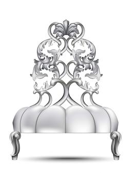 Barocker luxusstuhl. rich imperial style möbel mit komplizierten ornament. vektor realis