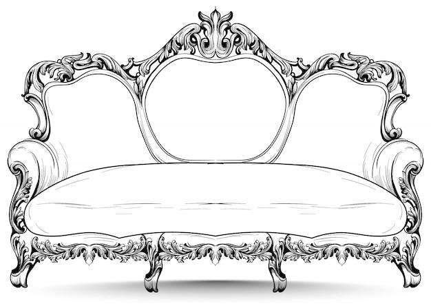 Barockes sofa mit luxuriösen verzierungen. französische luxus reiche komplizierte struktur. viktorianische royal style dekore