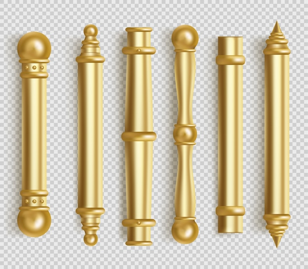 Barockgoldene türgriffe für den innenraum im büro oder zu hause. realistischer satz von goldenen goldenen langen türknöpfen. stangenformgriffe mit kugeln lokalisiert auf weißem hintergrund