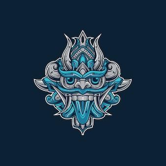 Barong-illustration im cyborg-stil