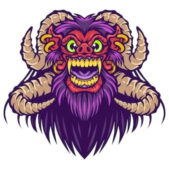 Barong kopf maskottchen logo