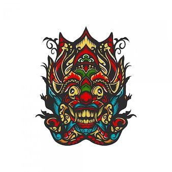 Barong maske mit hand gezeichneter illustration