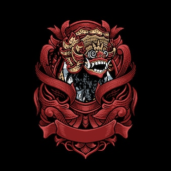 Barong ornament vector art illustration