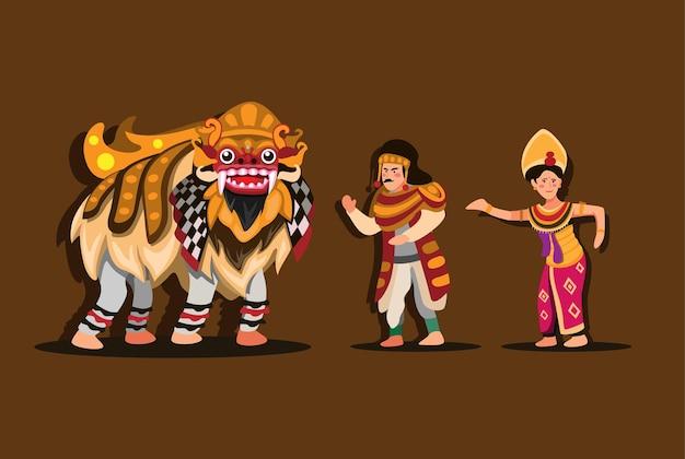 Barong traditioneller tanz aus bali indonesien. mann und frau tragen kostüm und tanzen in der leistungsshow.