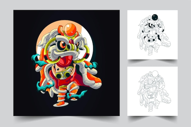 Barongsai kunstwerk illustration