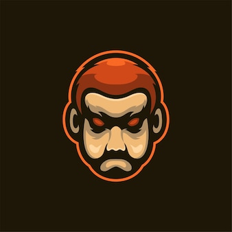 Bart mann kopf cartoon logo vorlage illustration esport logo gaming premium vektor