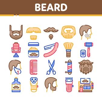 Bart und schnurrbart collection icons set