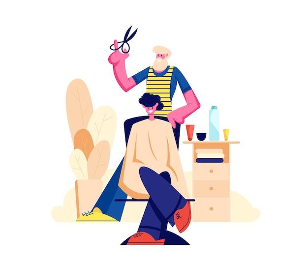 Bartfriseur friseur, der jungen männlichen kunden-haarschnitt im männer-schönheitssalon-friseursalon tut.