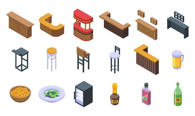 Bartheke-icons gesetzt. isometrischer satz von bartheken-vektorsymbolen für webdesign isoliert auf weißem hintergrund