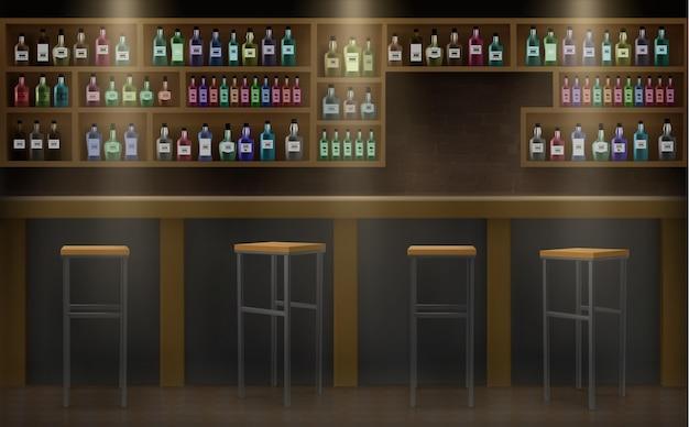 Bartheke mit getränken und alkoholillustration