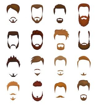 Bartvektorporträt des bärtigen mannes mit dem männlichen haarschnitt im friseursalon und im mit widerhaken versehenen schnurrbart auf hipstergesichtillustrationssatz der friseurfrisur lokalisiert auf weißem raum