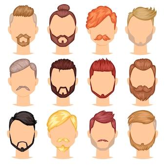 Bartvektorporträt des bärtigen mannes mit dem männlichen haarschnitt im friseursalon und im mit widerhaken versehenen schnurrbart auf hipstergesichtillustrationssatz des friseursmenschenfrisur lokalisiert auf weißem hintergrund