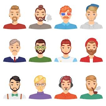 Bartvektorporträt des bärtigen mannes mit dem männlichen haarschnitt im friseursalon und im mit widerhaken versehenen schnurrbart auf hipstergesichtillustrationssatz von leuten mit friseurfrisur lokalisiert auf weißem hintergrund
