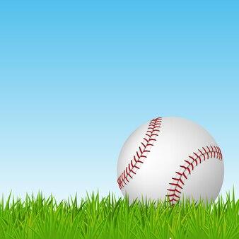 Baseball auf grünem gras. illustration.