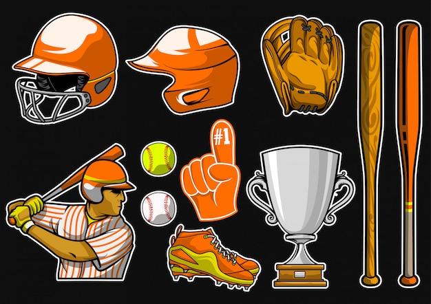 Baseball-ausrüstungsvorrat-vektorsatz