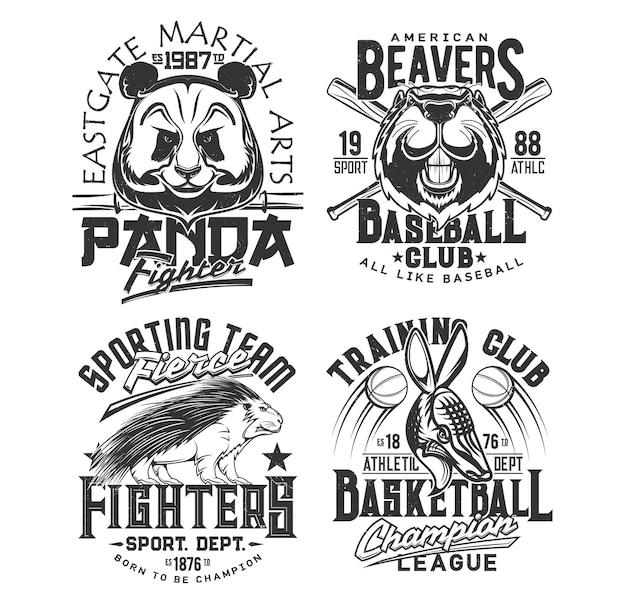 Baseball, basketballmannschaft sportverein embleme. straßenkampf-kampfkünste und maskottchen der sportlichen uni-sportliga, panda, amerikanischer biber und stachelschwein.