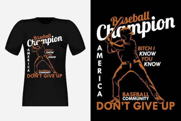 Baseball champion amerika silhouette vintage t-shirt design