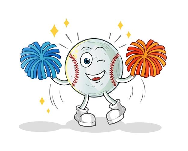 Baseball cheerleader cartoon illustration