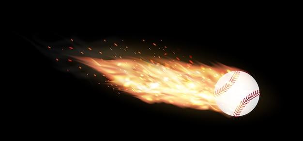 Baseball, der auf einem schwarzen hintergrund brennt