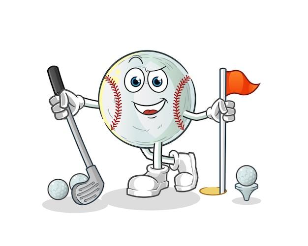 Baseball, der golfzeichentrickfigur spielt