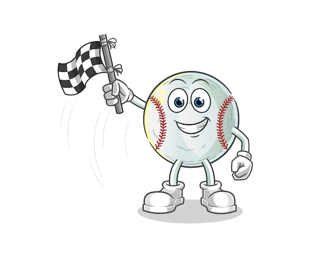 Baseball-finish flaggenhalter cartoon illustration