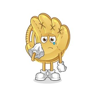 Baseball-handschuh weinen mit einem gewebecharakter. cartoon maskottchen