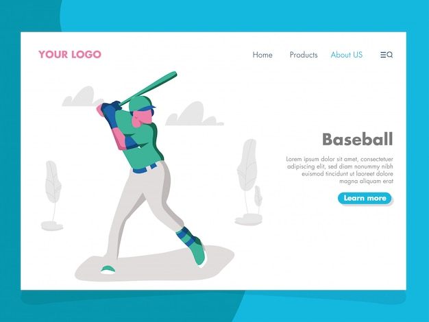 Baseball illustration für landing page
