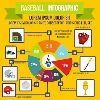 Baseball infographic in der flachen art für irgendein design
