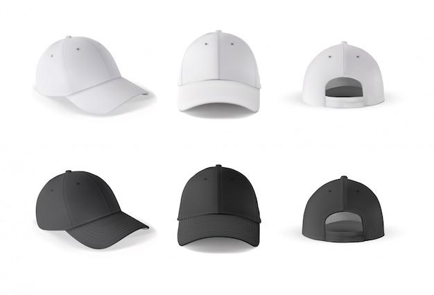 Baseball kappe. realistische baseballkappe vorder-, seiten-, rückansichten. schwarze und weiße leere kappe isoliert.