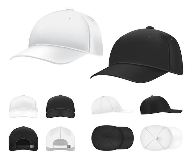 Baseball kappe. schwarze und weiße leere sportuniformkopfbedeckung in der seiten-, vorder- und rückansichtschablone.