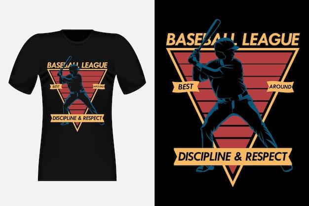 Baseball league disziplin und respekt silhouette vintage t-shirt design