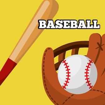Baseball lederhandschuh ball und schläger ausrüstung sport spiel
