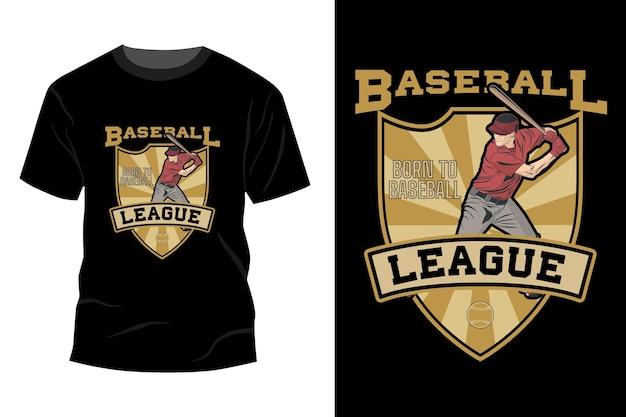 Baseball-liga geboren zu baseball-t-shirt mockup design vintage retro