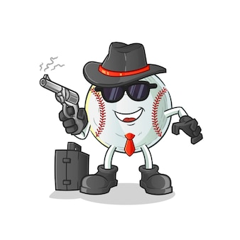 Baseball-mafia mit waffencharakterillustration
