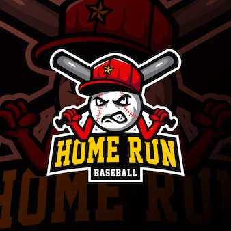 Baseball maskottchen logo esport gaming illustration