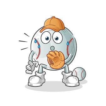 Baseball maskottchen zeichentrickfigur mit handschuh