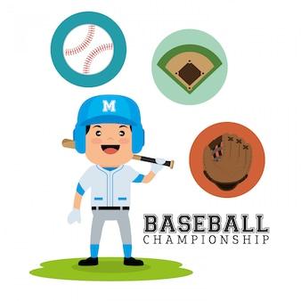 Baseball-meisterschaftskonzeptspieler-schlägerballhandschuh und -feld