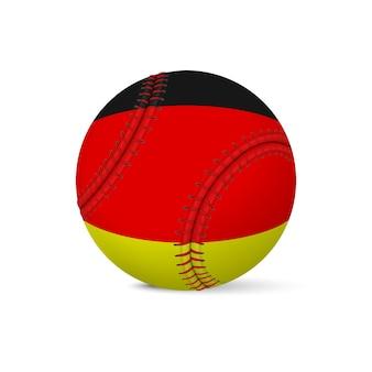 Baseball mit flagge von deutschland, lokalisiert auf weißem hintergrund.
