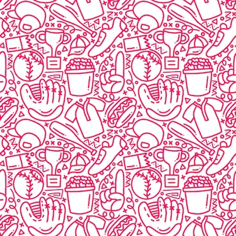 Baseball mono line doodle nahtloses muster